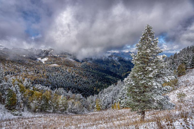 пейзаж, горы, осень, снег, перевал, тхач, ачешбок, Осень в горах Кавказаphoto preview