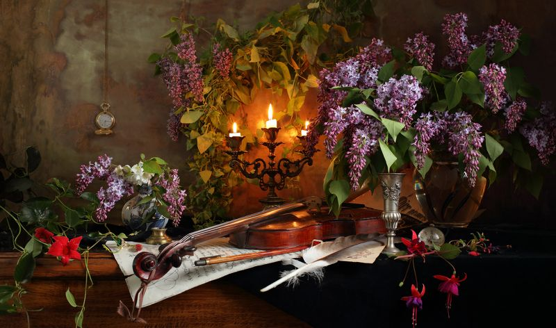 сирень, цветы, скрипка, свет, музыка, свечи Натюрморт со скрипкой и цветами photo preview