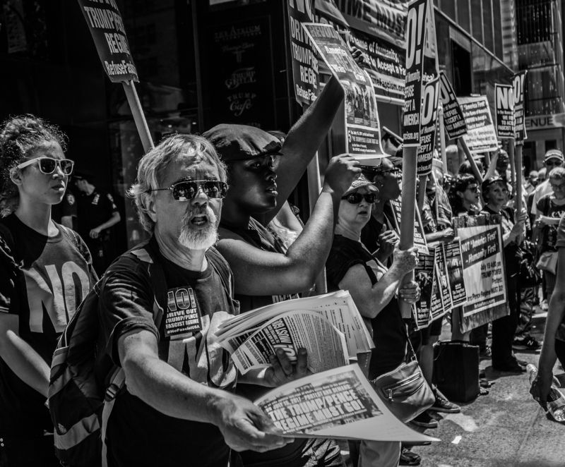 meeting trump people street no paper newspaper protest objection revolt men man beard glasses usa san-francisco  Meeting against the Donald Trumpphoto preview
