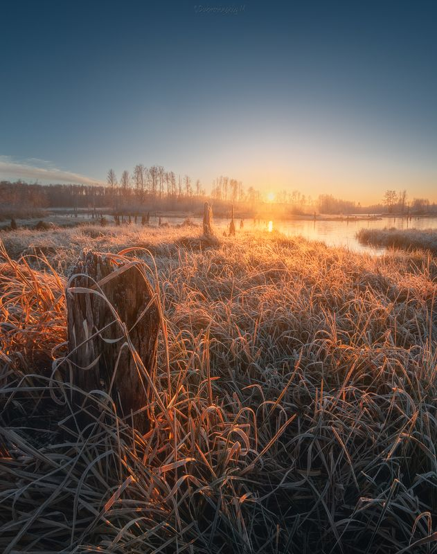 мороз, мильчус, река, утро, рассвет, иней Морозное утроphoto preview