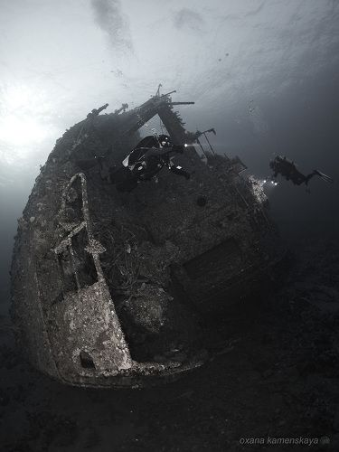 Затонувшее судно Kimon M, нос корабля.