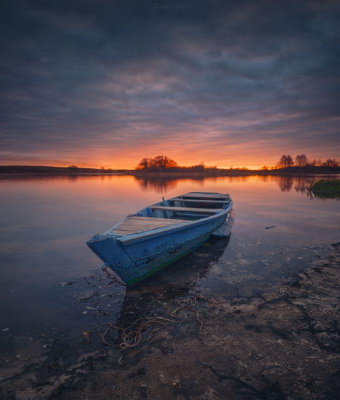 лодка, закат, осень, река, тырница Осенний закатphoto preview