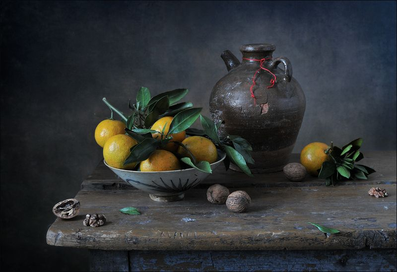 натюрморт , мандарины, кувшин С китайскими мандаринами )photo preview