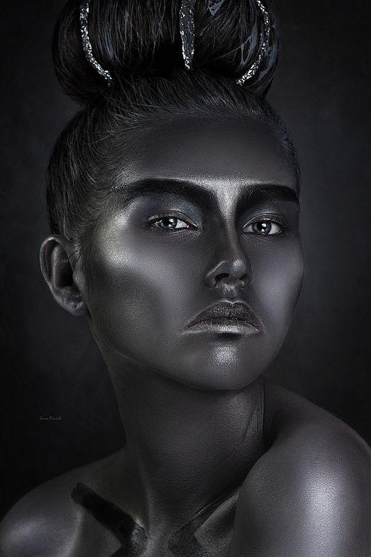 люди, человек, девушка, лицо, портрет, глаза, взгляд, арт, фейсарт, бодиарт, креатив, краска, сталь, стержень, фундамент, основа, студия, фотокузница, ivankovale Стальphoto preview