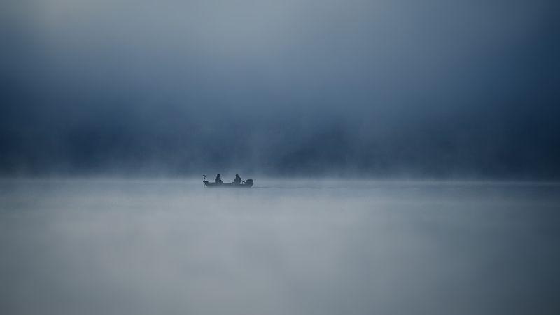 landscape, fishing, lake, morning, fog, nature, people Fishingphoto preview