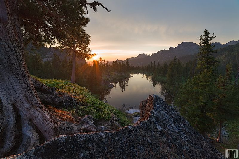 ергаки, пейзаж, горы, озеро, панорама, закат, россия, Вид на озеро Лазурноеphoto preview