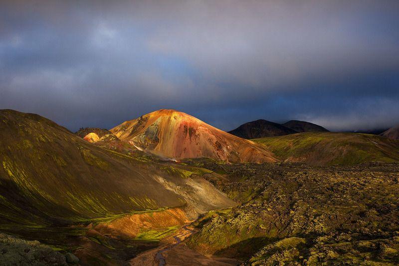 исландия, пейзаж, iceland, landmannalaugar, пейзажи исландии, горы исландии, цветные горы исландии Первый лучphoto preview