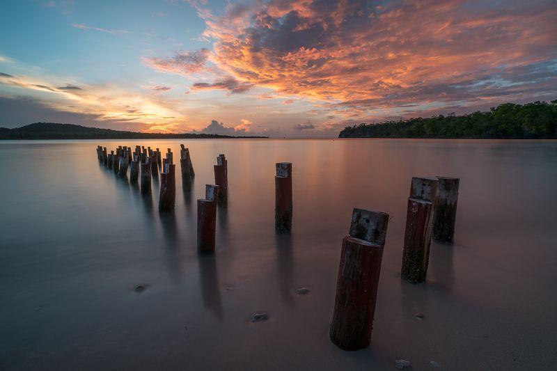 sunset, reflection, serenity, ocean, bay, clouds, water, pier, закат, отражение, спокойствие, океан, залив, облака, пирс, вода Serenityphoto preview