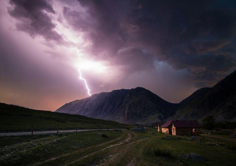 Алтай, гроза, пейзаж, ночь, молния, горы, Россия, небо Алтайские грозыphoto preview