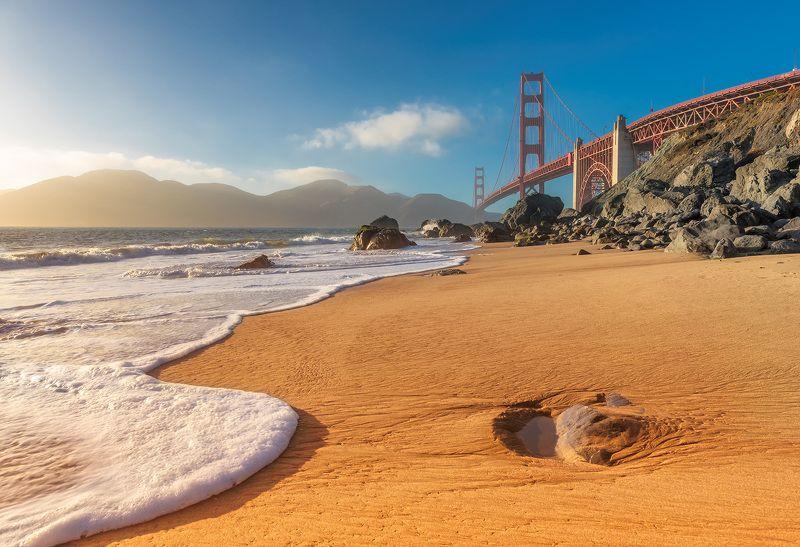 golden, gate, bridge, francisco, san, california, usa, beach, sunset, bay, ocean, america, sea, american, coast San Francisco Beachphoto preview