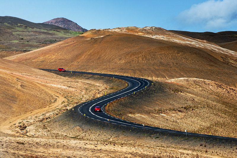 исландия, пейзаж, iceland, пейзажи исландии, горы исландии, цветные горы исландии, hverir Дорога в долину гейзеров - Hverir. Исландия.photo preview