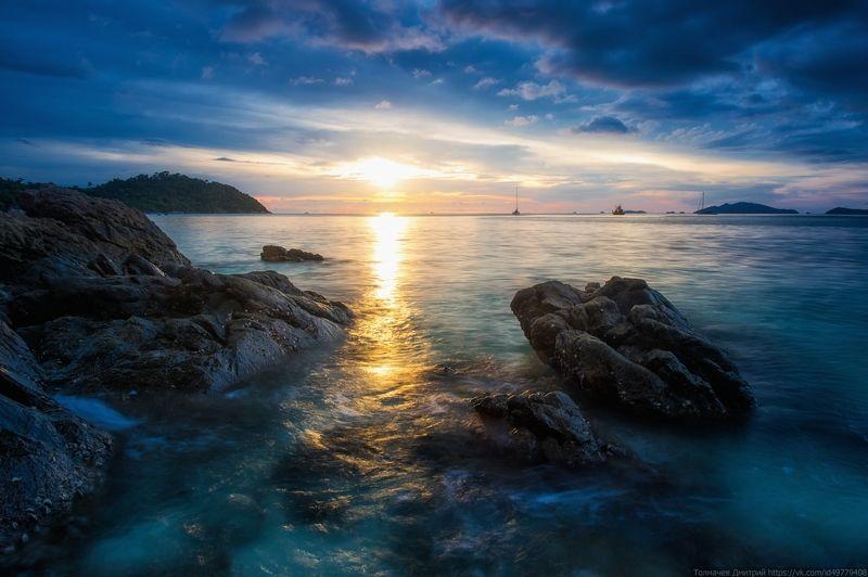 толмачев дмитрий, закат, море, национальный парк туратао, ко липе, тайланд, камни, отлив, отпуск, лето На острове Ко Липе...photo preview