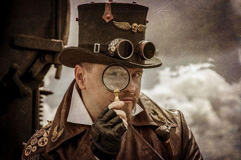 стимпанк,портрет,мужчина,очки,гогглы,steampunk,жанр,жанровый портрет,ч/б,глаза,викторианская эпоха,доктор Маркус,Лорд командующий Взгляд из прошлогоphoto preview