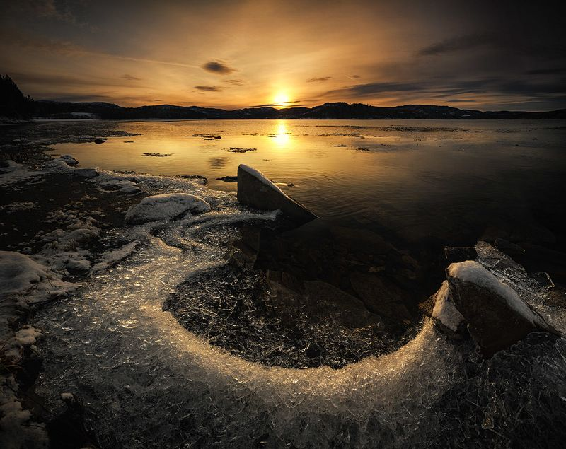 lake, winter, ice, water freezing, beach, shore, norway, sunset, sunrise, Water and Icephoto preview
