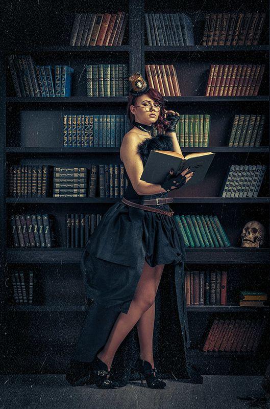 стимпанк,девушка,библиотека,книга,портрет,время,часы,steampunk,викторианская эпоха,Violetta,library Violetta in the libraryphoto preview