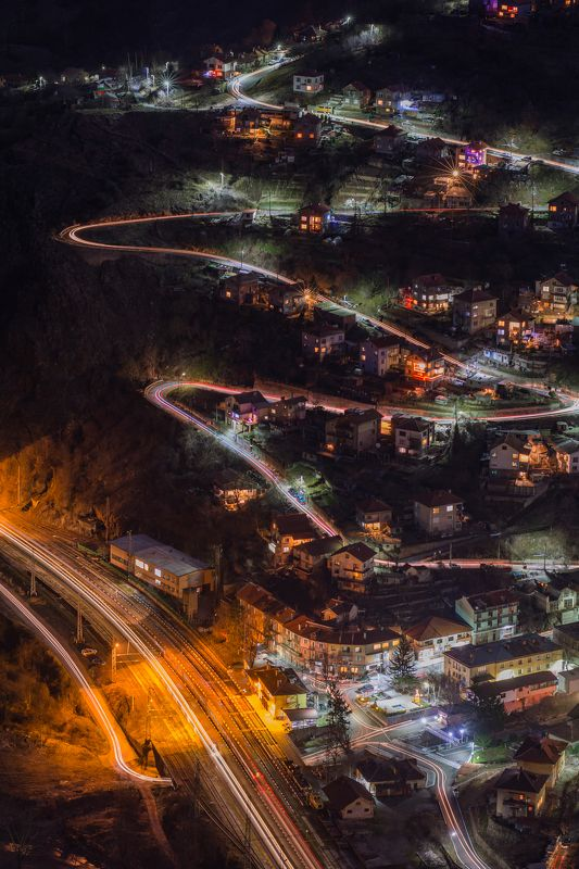 night, traffic, train, car, trails, city, travel, landscape, mountain Nightphoto preview