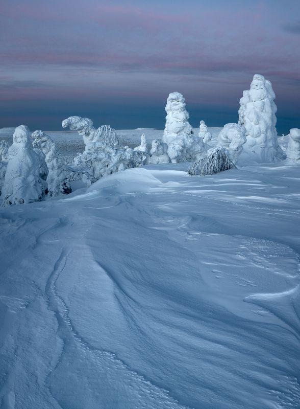 зима, снег, деревья, утро, рассвет, фактура, заструги, фигуры, монстры, урал, горы, антон селезнев Музей снежных фигурphoto preview