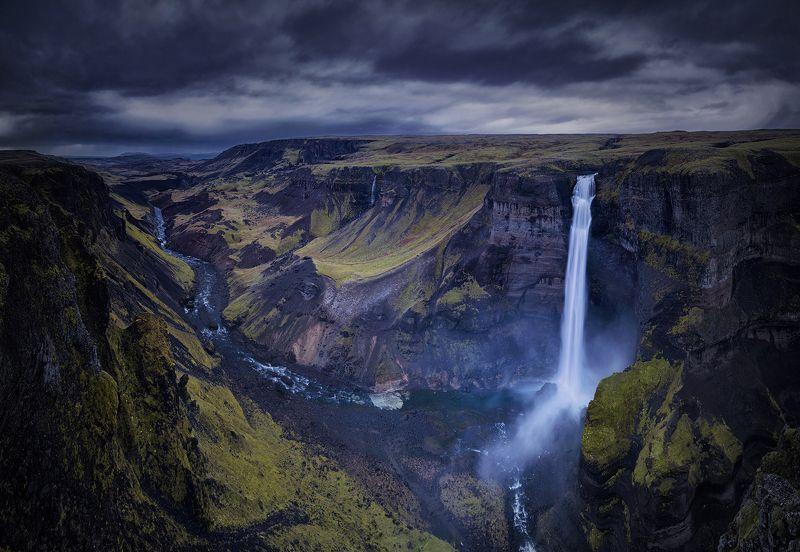 waterfall, landscape, nature, iceland, travel, dark, пейзаж, iceland Haifossphoto preview