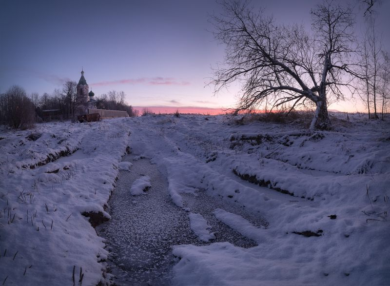 зима, мороз, иней, утро, рассвет, пейзаж, капустино Зима в капустиноphoto preview