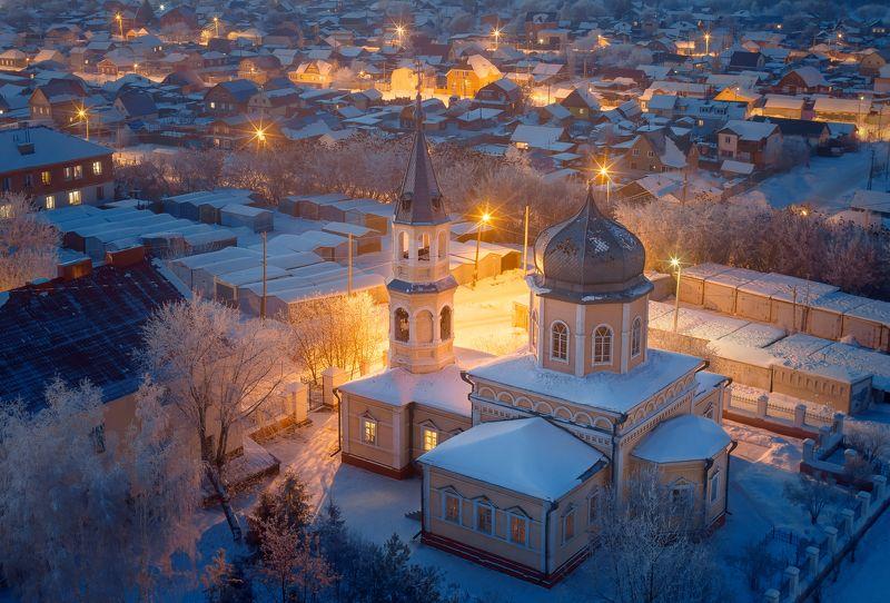 омск, город, церковь, крыша, ночь, мороз, иней, россия, пейзаж Омская зимаphoto preview