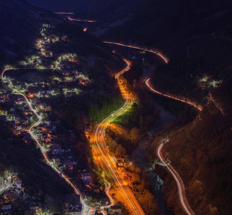night, trails, cars, train, landscape, mountain, river, water, city Nightphoto preview