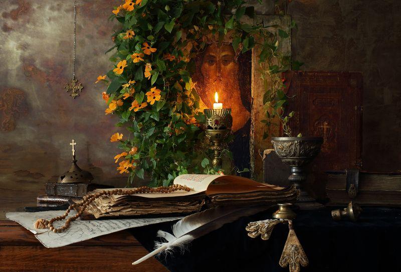 икона, цветы, свеча, книги, религия С Рождеством!photo preview