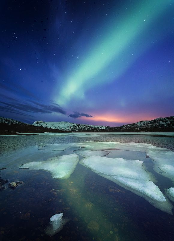 aurora, borealis, north lights, night, lake, winter, night photo, norway, norwegian, outdoor, nature, natural, landscape, astronomy Green nightphoto preview