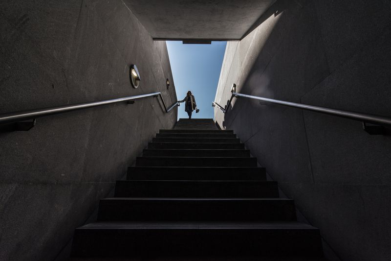 entrance, metro station, people, stairs, Oporto, Portugal Main entrancephoto preview