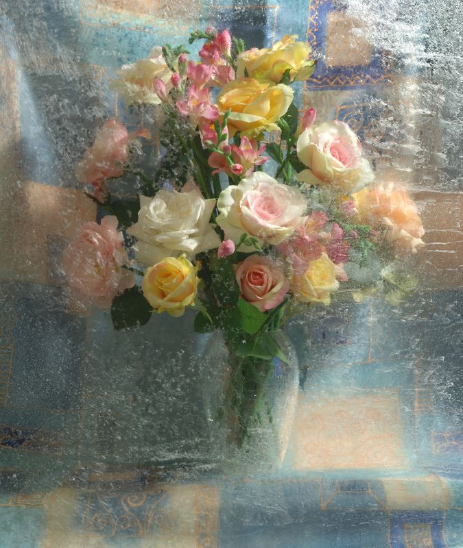 цветы, букет, ваза, мороз, узоры Новогодний букетphoto preview