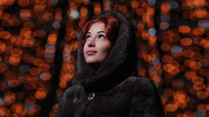 девушка, город, ночь, зима, новый год, фильм Svetaphoto preview