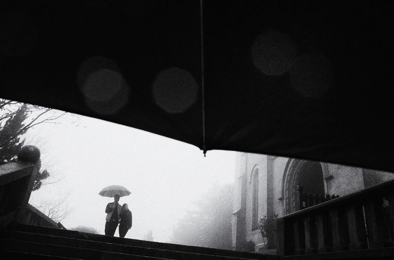 street , street photography , black and white under umbrella photo preview