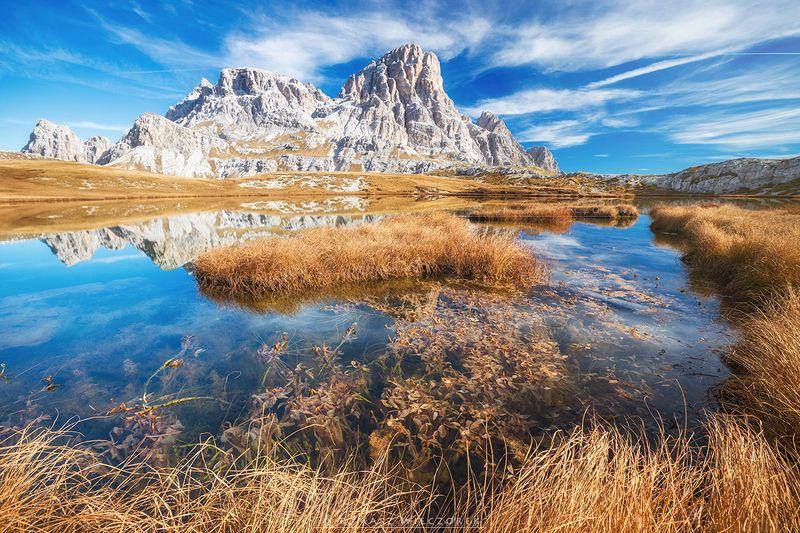 dolomities, dolomiti, mountains, italia, italy, sunset, sunrise, pond, reflection, light, red, orange, autumn, colours, lago In the middle of the Dolomitesphoto preview
