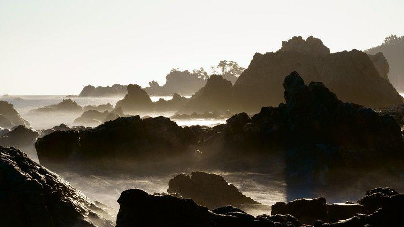 south korea,kangwondo,winter,sea,seascape,water fog,sun,horizontal,wave,rocks,horizontal Seascape with rocksphoto preview