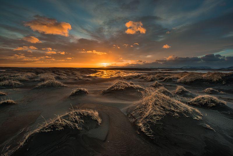 Исландия Закат над дюнамиphoto preview