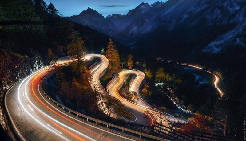 ночной пейзаж, швейцария, горы, пейзаж Гирлянда photo preview