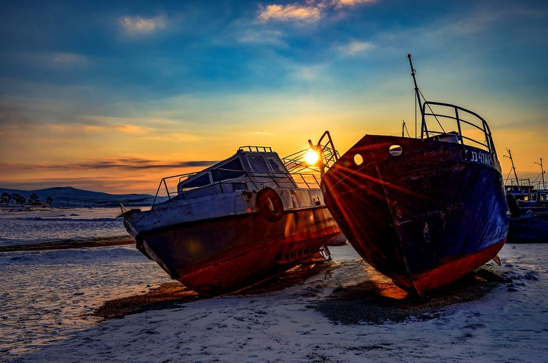ольхон, байкал, корабли, зима Флот Байкалаphoto preview