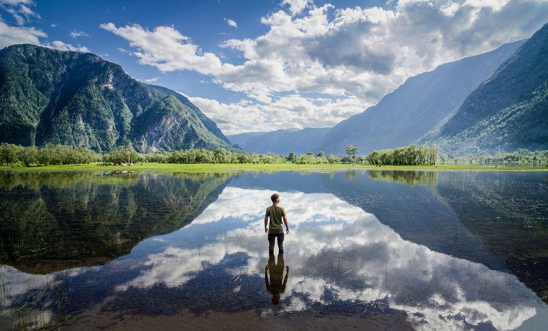 Озеро, отражение, пейзаж, Алтай, Россия, человек, портрет Автопортрет photo preview
