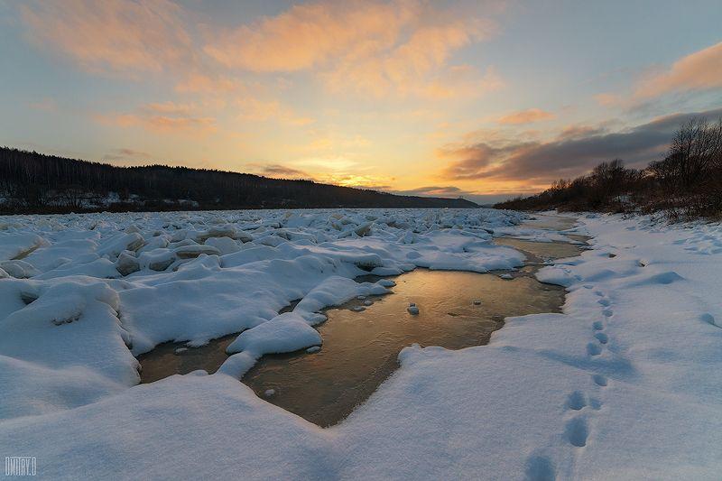 река, зима, закат, лёд, Ока во льдуphoto preview