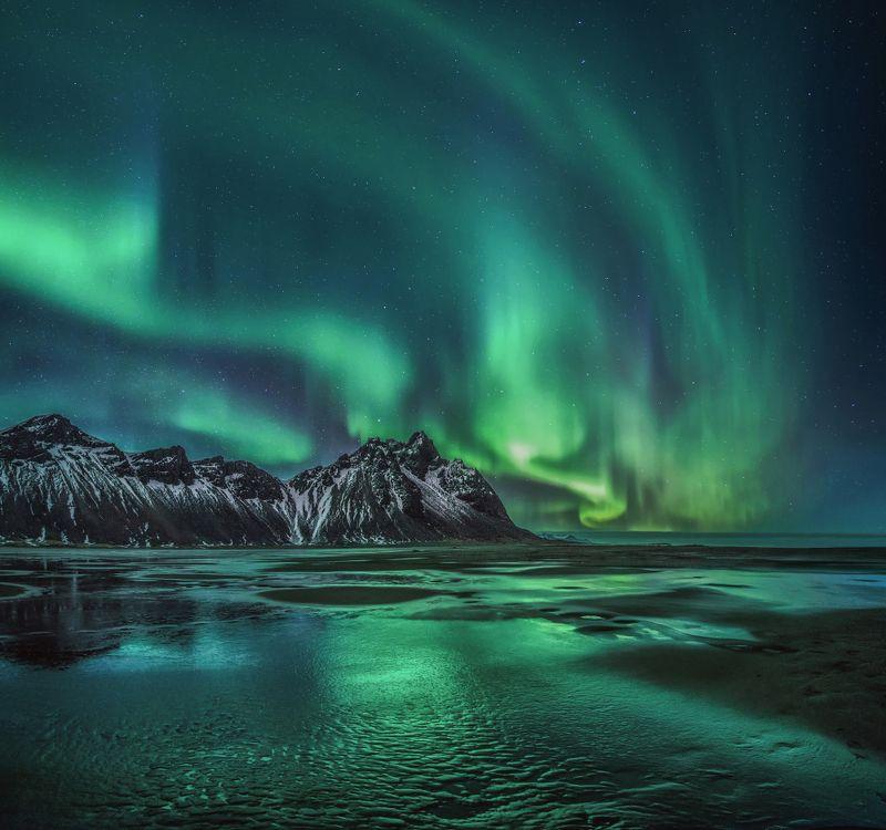 Вестрахорн, Исландия, северное сияние  Ночной Вестрахорнphoto preview