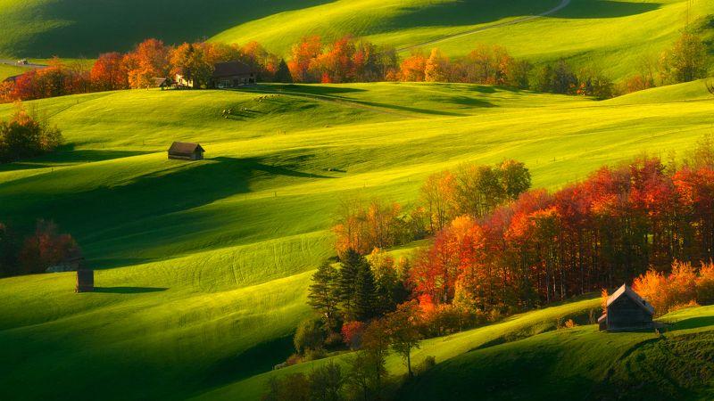 Швейцария, вечер, луга, холмы, осень Вечер осениphoto preview