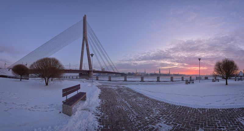 панорама рига латвия город зима рассвет мороз -8\'Cphoto preview