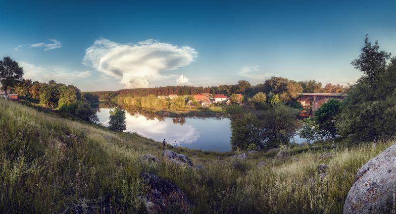 украина, коростышев, пейзаж, река, тетерев, берег, рыбаки, облака, гармония, чувства, загадочный вечер, познание жизни,  удивление, открытия,  энтузиазм, подъем духа, одушевление, \
