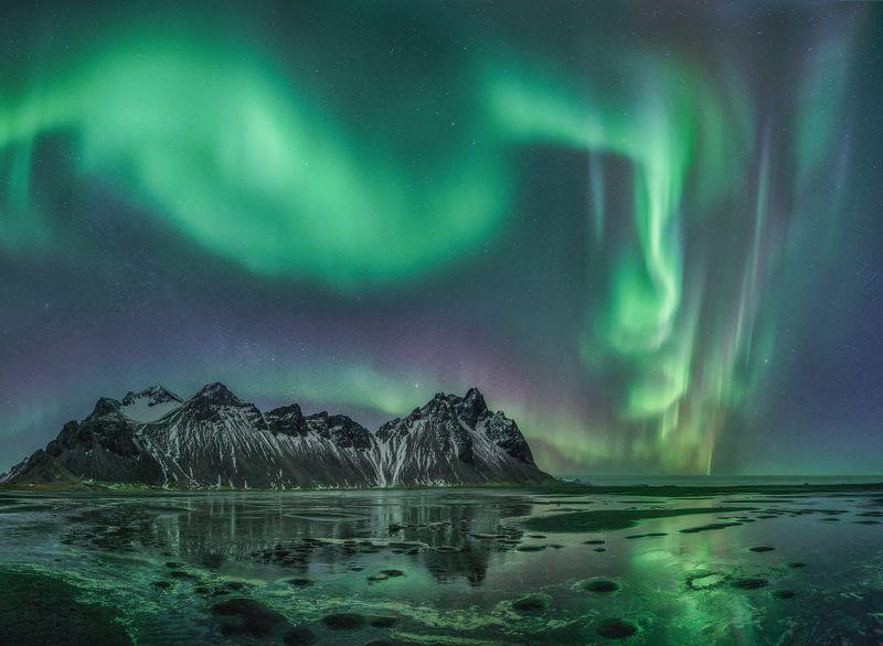 Вестрахорн, Северное сияние, Исландия  Аврора над Вестрахорномphoto preview