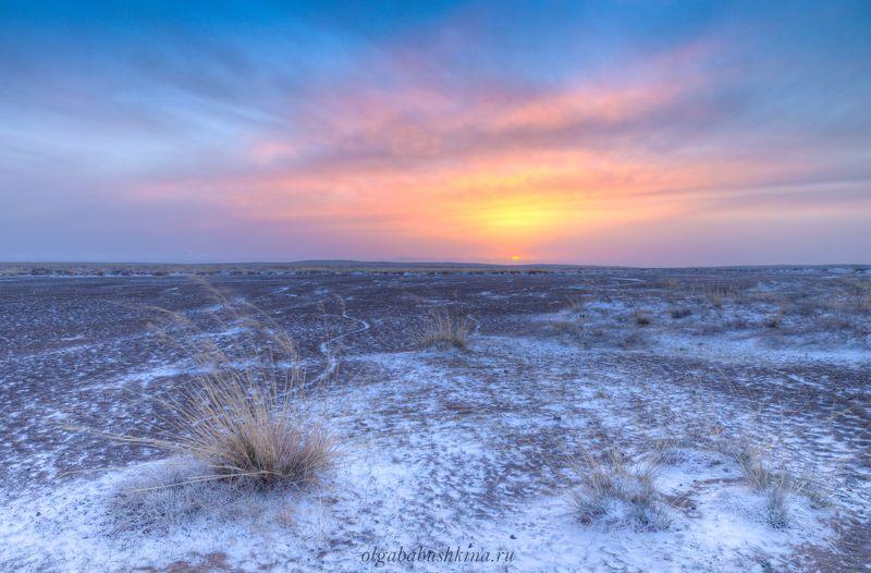 монголия, степь Закат в степиphoto preview