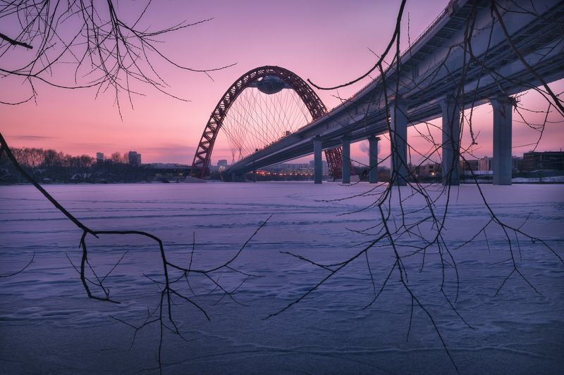 москва, живописный мост, зима, закат, москва река, мороз Вечер у Живописного мостаphoto preview