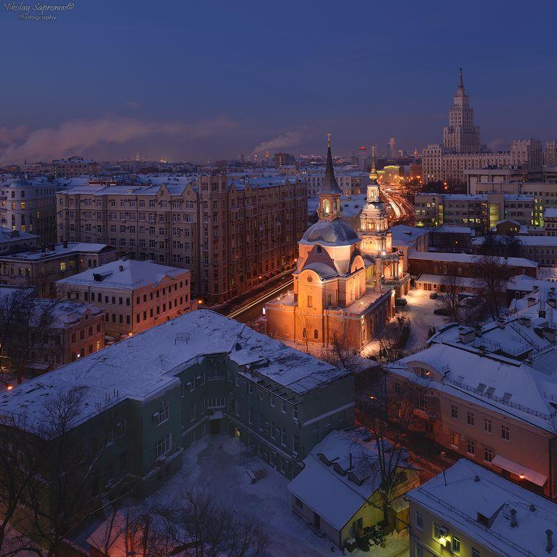 москва, красные ворота, городской пейзаж, сталинские высотки, петропавловский храм, басманный, центр москвы, цао \