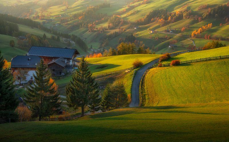 Санта-Маддалена, Италия, осень, поля, холмы, доломиты Тени Санта Маддаленыphoto preview