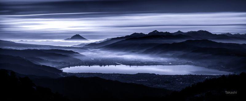 Fuji,mountain,Japan,cloud,lake,blue,morning, Mountains over the lake (panorama)photo preview
