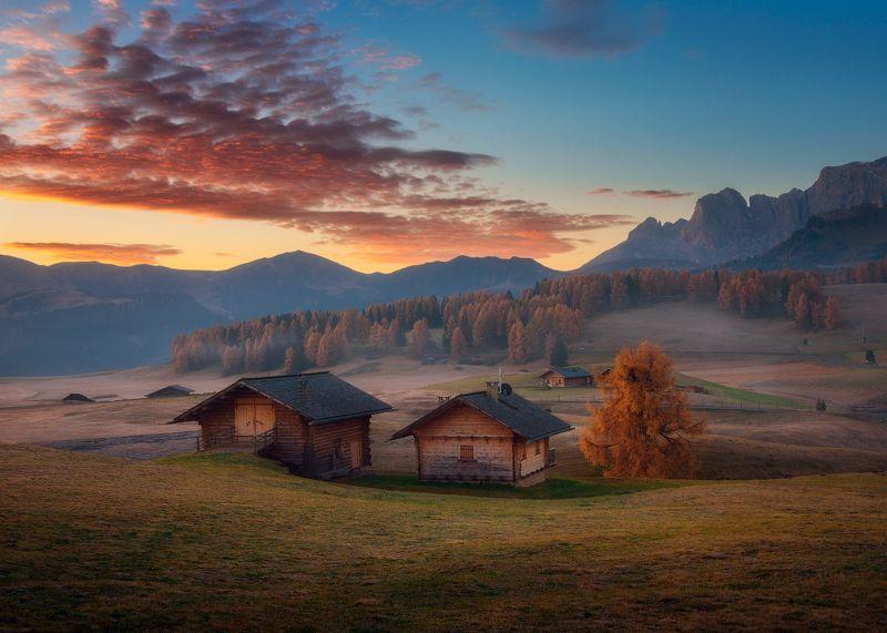 Италия, осень, доломиты, утро, рассвет, небо Дыхание рассветаphoto preview