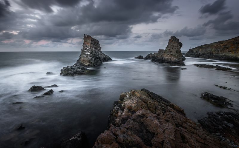 landscape nature seascape rocks castal coast beach sea seaside long exposure scenery  cloudy dramatic bulgaria ~~^~^~~photo preview